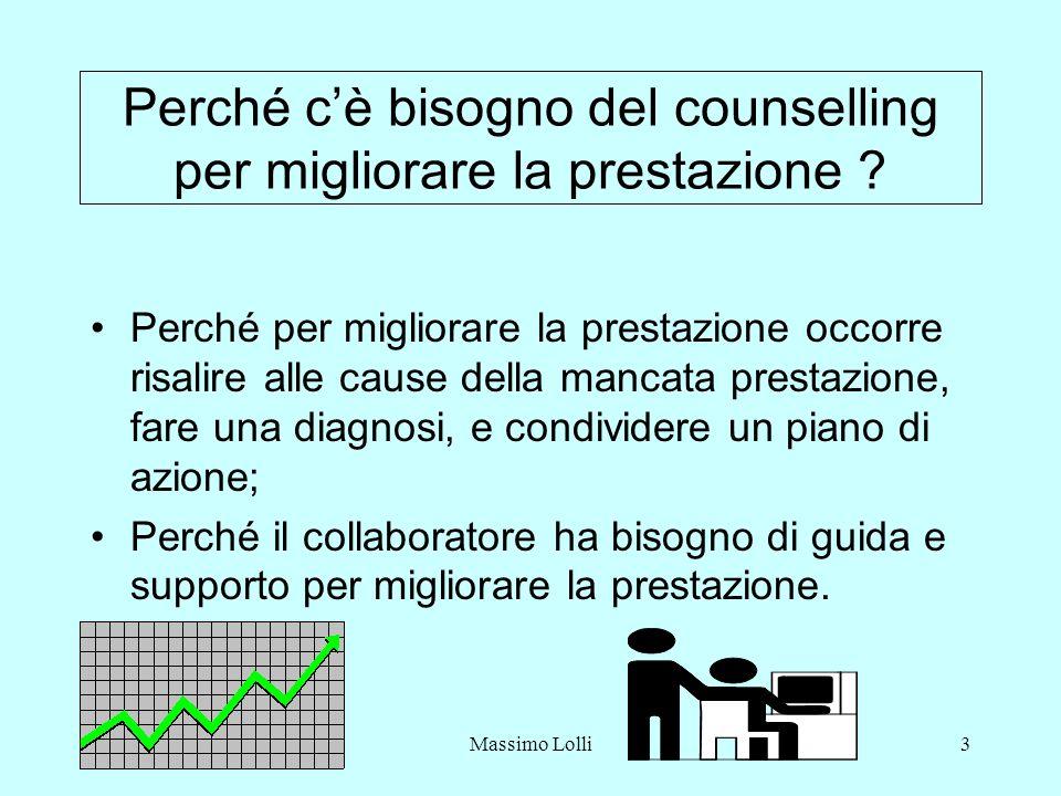Massimo Lolli3 Perché cè bisogno del counselling per migliorare la prestazione ? Perché per migliorare la prestazione occorre risalire alle cause dell