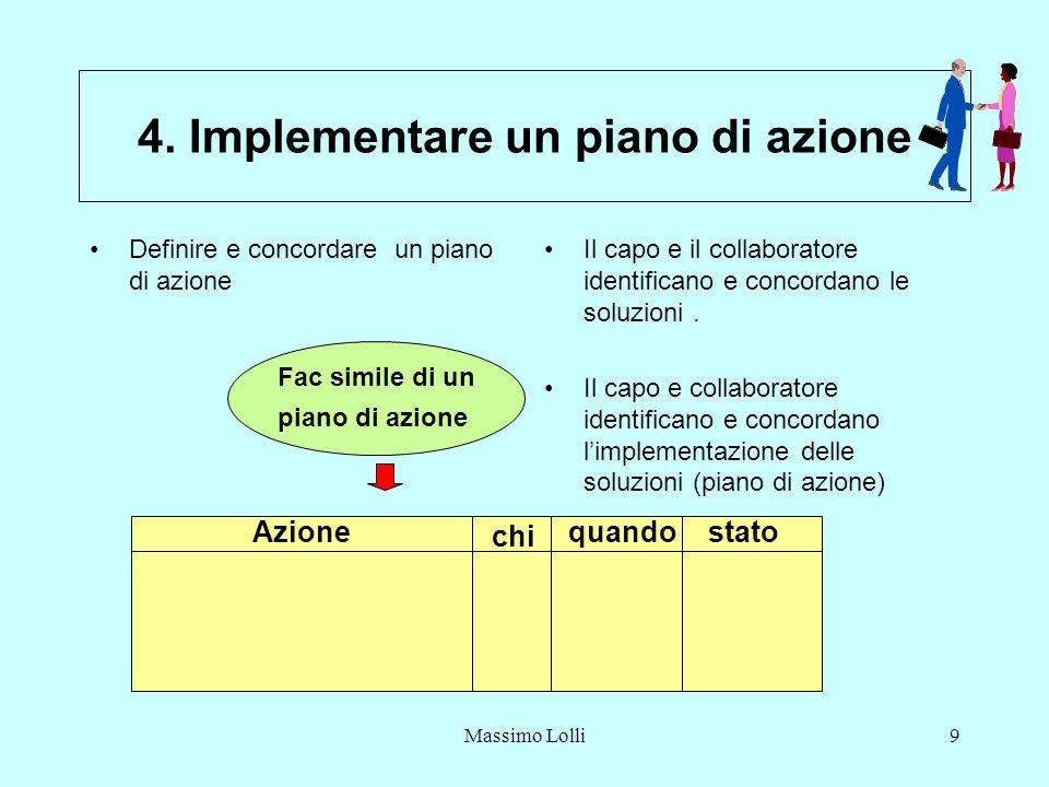 Massimo Lolli9 4. Implementare un piano di azione Definire e concordare un piano di azione Il capo e il collaboratore identificano e concordano le sol