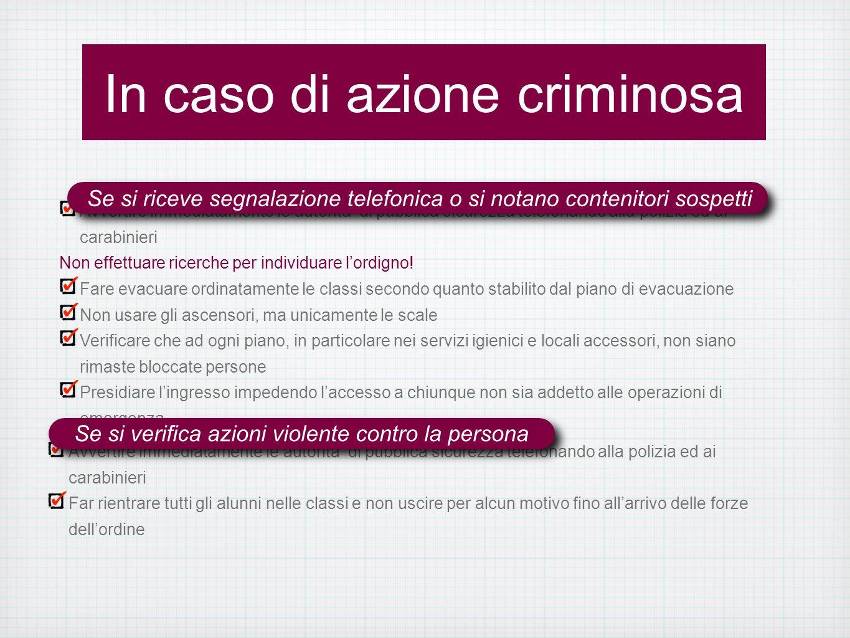 In caso di azione criminosa Avvertire immediatamente le autorità di pubblica sicurezza telefonando alla polizia ed ai carabinieri Non effettuare ricerche per individuare lordigno.