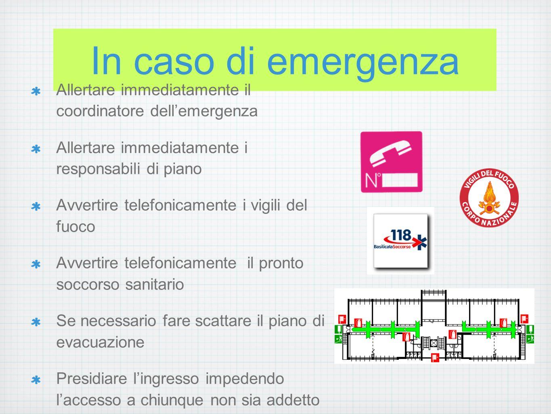 In caso di evacuazione l coordinatore dellemergenza deve: attivare lallarme di evacuazione, avvertire gli enti esterni di soccorso e i responsabili di piano, coordinare le operazioni.