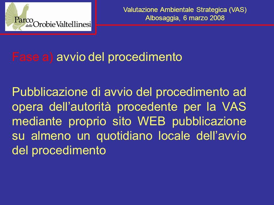 Fase a) avvio del procedimento Pubblicazione di avvio del procedimento ad opera dellautorità procedente per la VAS mediante proprio sito WEB pubblicazione su almeno un quotidiano locale dellavvio del procedimento Valutazione Ambientale Strategica (VAS) Albosaggia, 6 marzo 2008