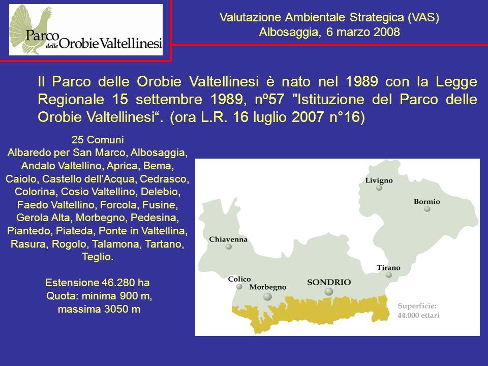 ARPA ASL Enti gestori aree protette Direzione Regionale per i beni culturali e paesaggistici della Lombardia Valutazione Ambientale Strategica (VAS) Albosaggia, 6 marzo 2008 Fase b) autorità ambientali da coinvolgere