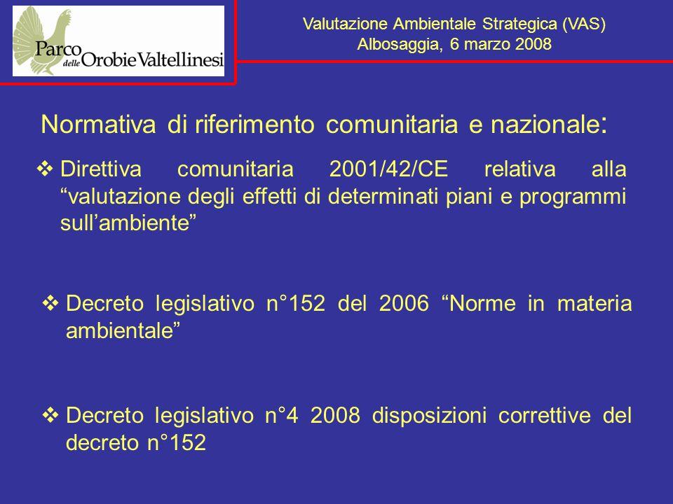 Valutazione Ambientale Strategica (VAS) Albosaggia, 6 marzo 2008 Normativa REGIONE LOMBARDIA: L.r.