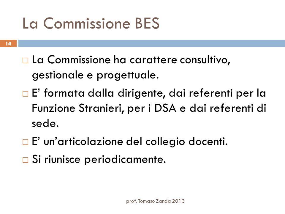 prof. Tomaso Zanda 2013 14 La Commissione BES La Commissione ha carattere consultivo, gestionale e progettuale. E formata dalla dirigente, dai referen