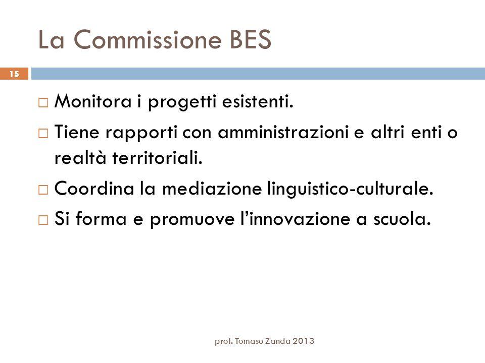 15 La Commissione BES Monitora i progetti esistenti. Tiene rapporti con amministrazioni e altri enti o realtà territoriali. Coordina la mediazione lin