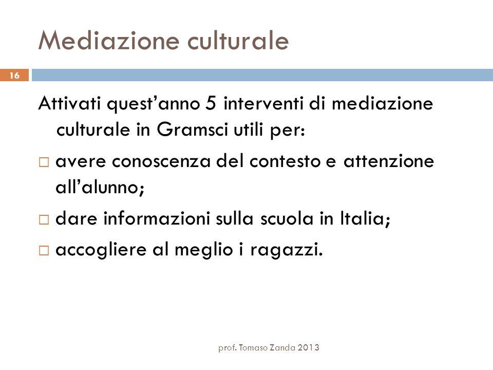 prof. Tomaso Zanda 2013 16 Mediazione culturale Attivati questanno 5 interventi di mediazione culturale in Gramsci utili per: avere conoscenza del con