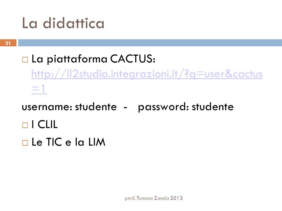 prof. Tomaso Zanda 2013 21 La didattica La piattaforma CACTUS: http://il2studio.integrazioni.it/?q=user&cactus =1 http://il2studio.integrazioni.it/?q=