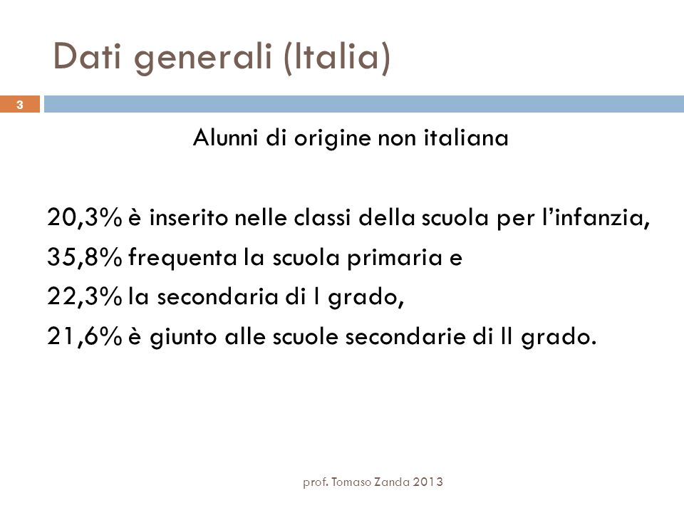 3 Dati generali (Italia) Alunni di origine non italiana 20,3% è inserito nelle classi della scuola per linfanzia, 35,8% frequenta la scuola primaria e