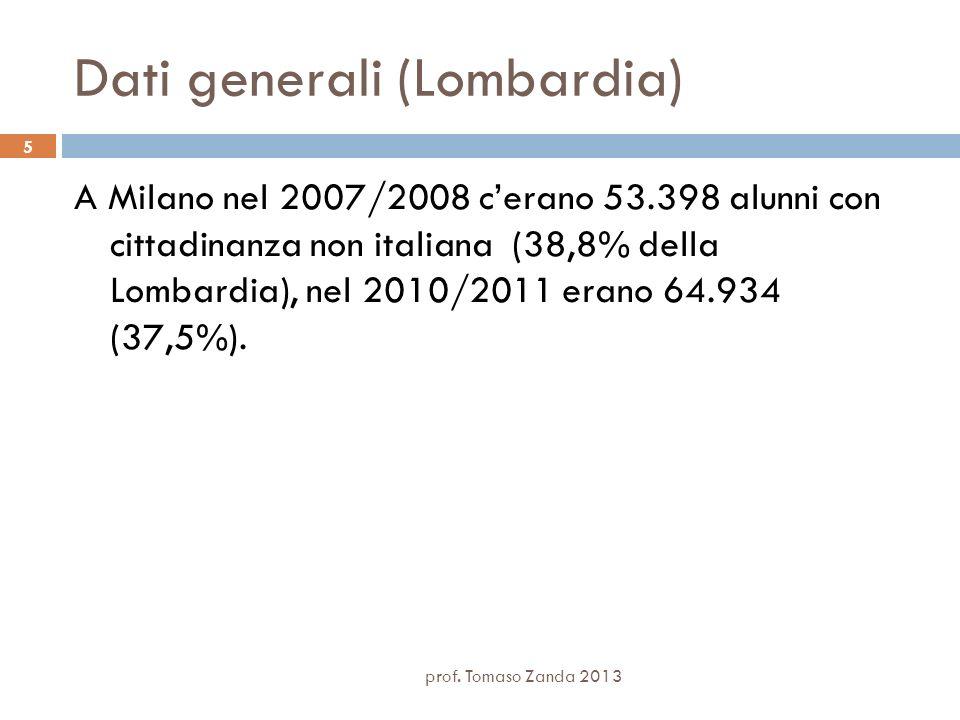 Dati generali (Lombardia) A Milano nel 2007/2008 cerano 53.398 alunni con cittadinanza non italiana (38,8% della Lombardia), nel 2010/2011 erano 64.93