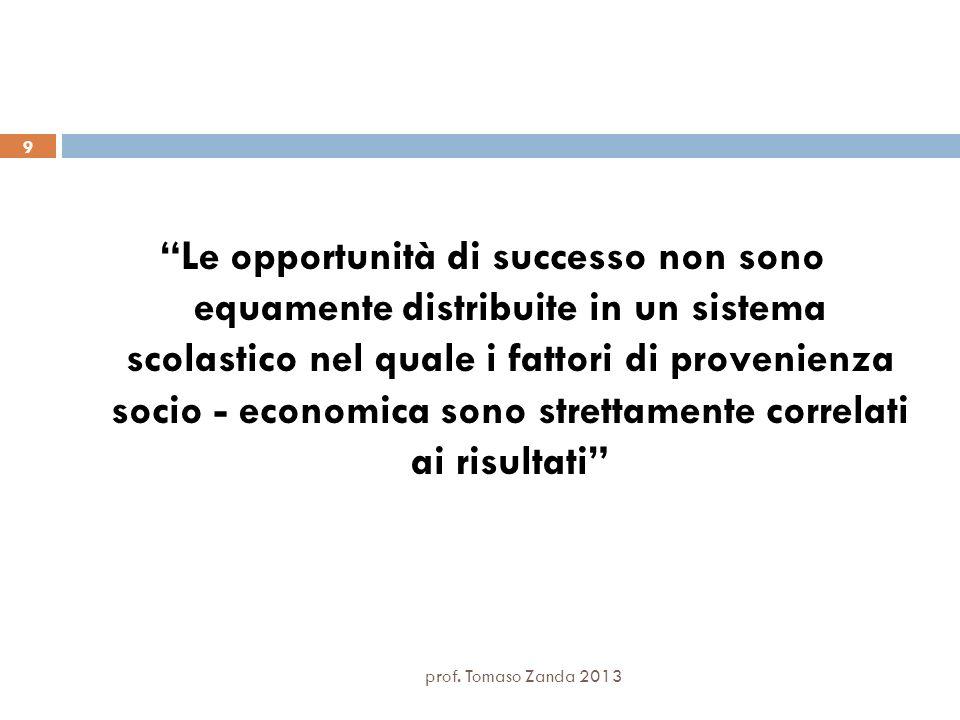 Le opportunità di successo non sono equamente distribuite in un sistema scolastico nel quale i fattori di provenienza socio - economica sono strettame