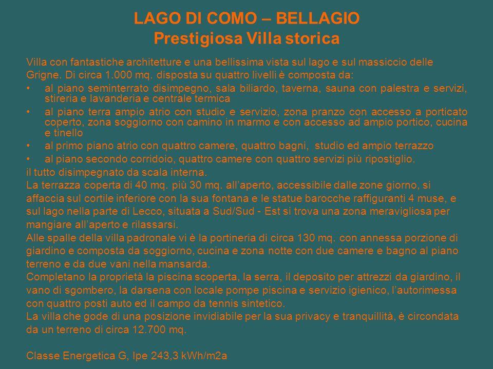 LAGO DI COMO – BELLAGIO Prestigiosa Villa storica Villa con fantastiche architetture e una bellissima vista sul lago e sul massiccio delle Grigne. Di