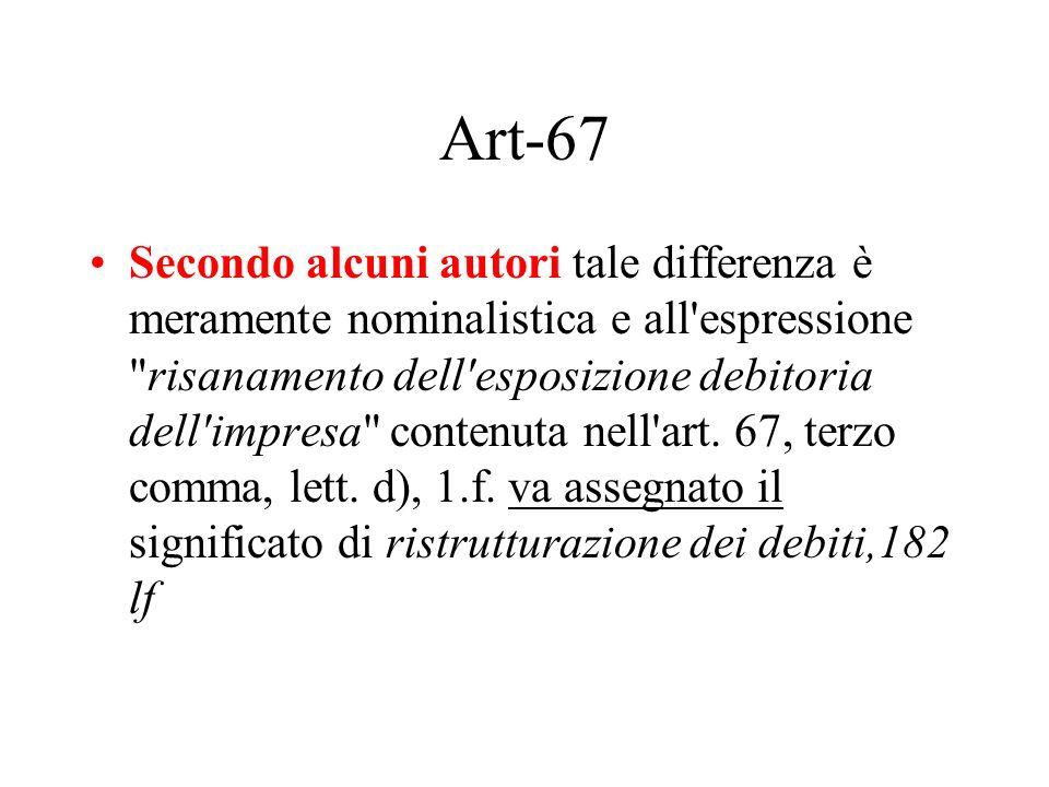 Art-67 Secondo alcuni autori tale differenza è meramente nominalistica e all'espressione