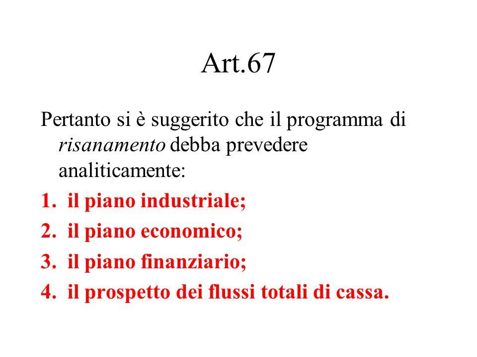 Art.67 Pertanto si è suggerito che il programma di risanamento debba prevedere analiticamente: 1.il piano industriale; 2.il piano economico; 3.il pian