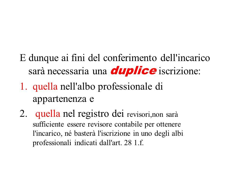 E dunque ai fini del conferimento dell'incarico sarà necessaria una duplice iscrizione: 1.quella nell'albo professionale di appartenenza e 2. quella n