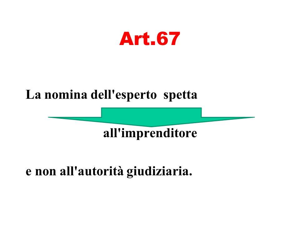 Art.67 La nomina dell'esperto spetta all'imprenditore e non all'autorità giudiziaria.
