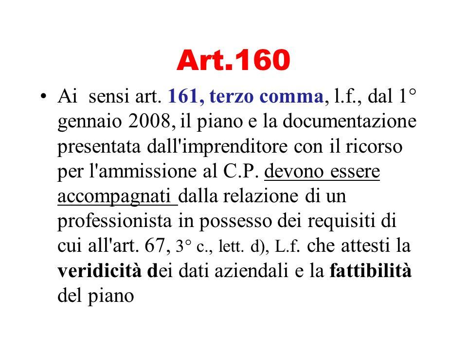 Art.160 Ai sensi art. 161, terzo comma, l.f., dal 1° gennaio 2008, il piano e la documentazione presentata dall'imprenditore con il ricorso per l'ammi