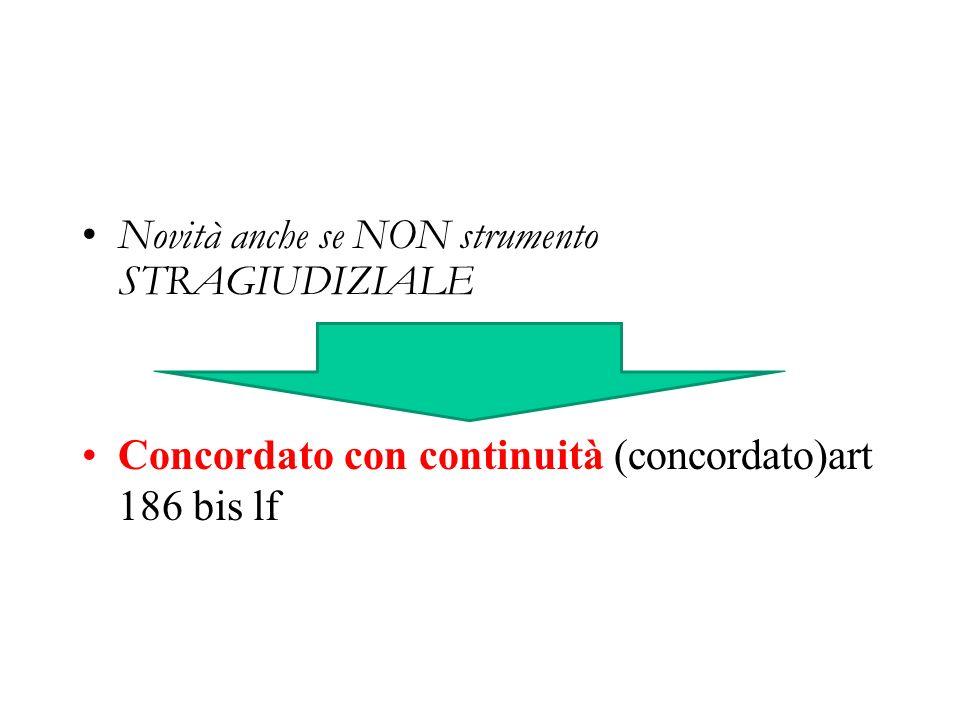 Novità anche se NON strumento STRAGIUDIZIALE Concordato con continuità (concordato)art 186 bis lf