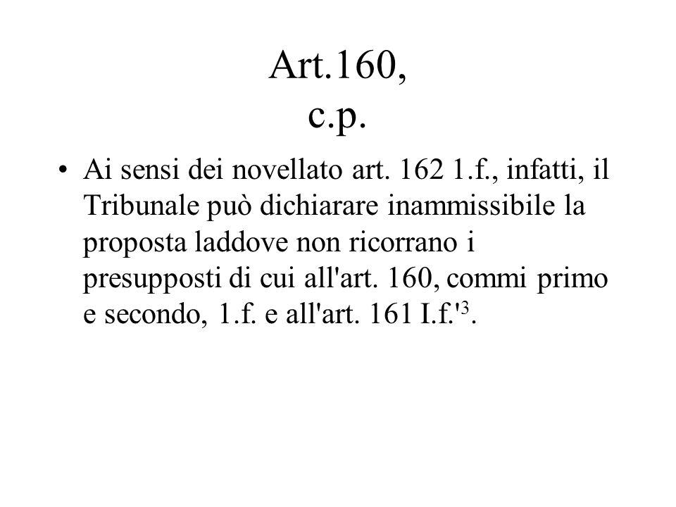 Art.160, c.p. Ai sensi dei novellato art. 162 1.f., infatti, il Tribunale può dichiarare inammissibile la proposta laddove non ricorrano i presupposti