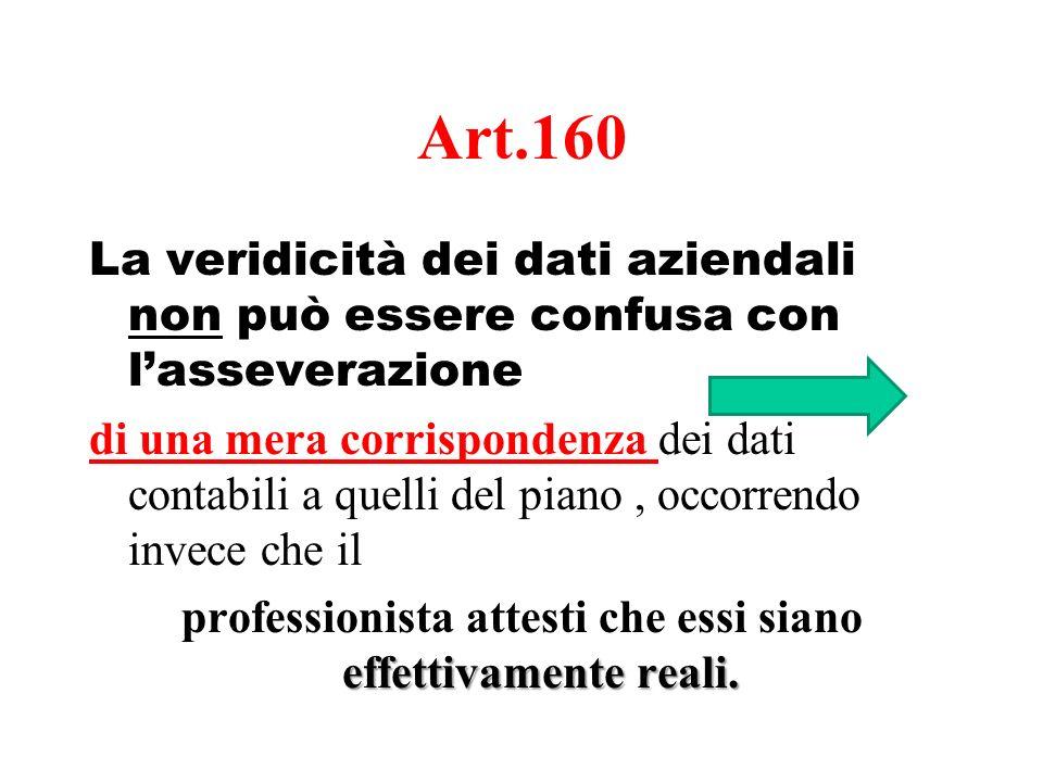 Art.160 La veridicità dei dati aziendali non può essere confusa con lasseverazione di una mera corrispondenza dei dati contabili a quelli del piano, o