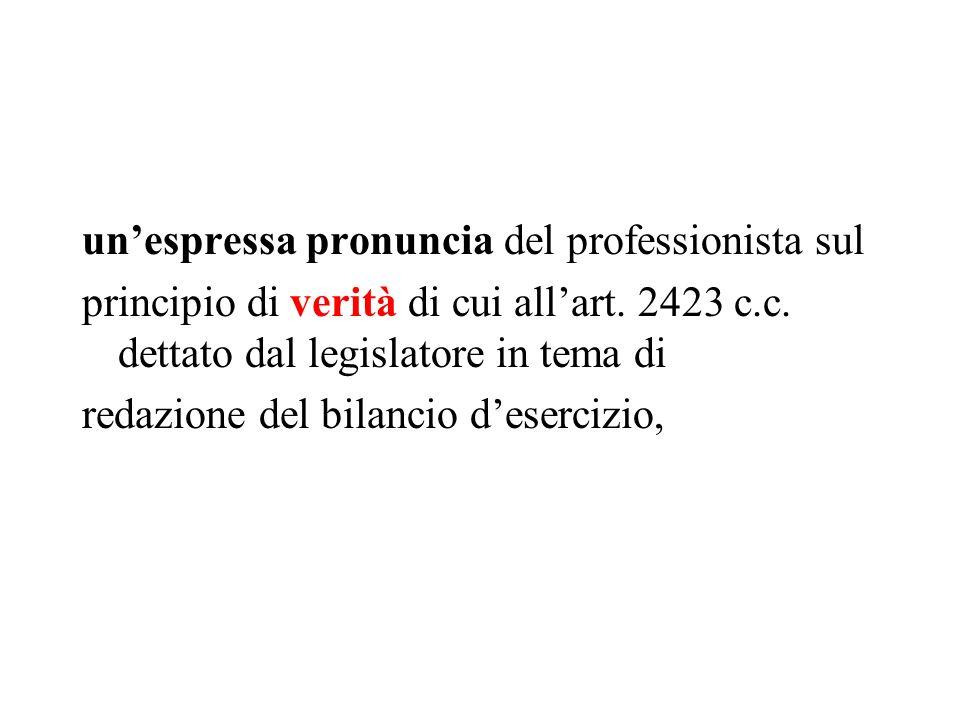 unespressa pronuncia del professionista sul principio di verità di cui allart. 2423 c.c. dettato dal legislatore in tema di redazione del bilancio des