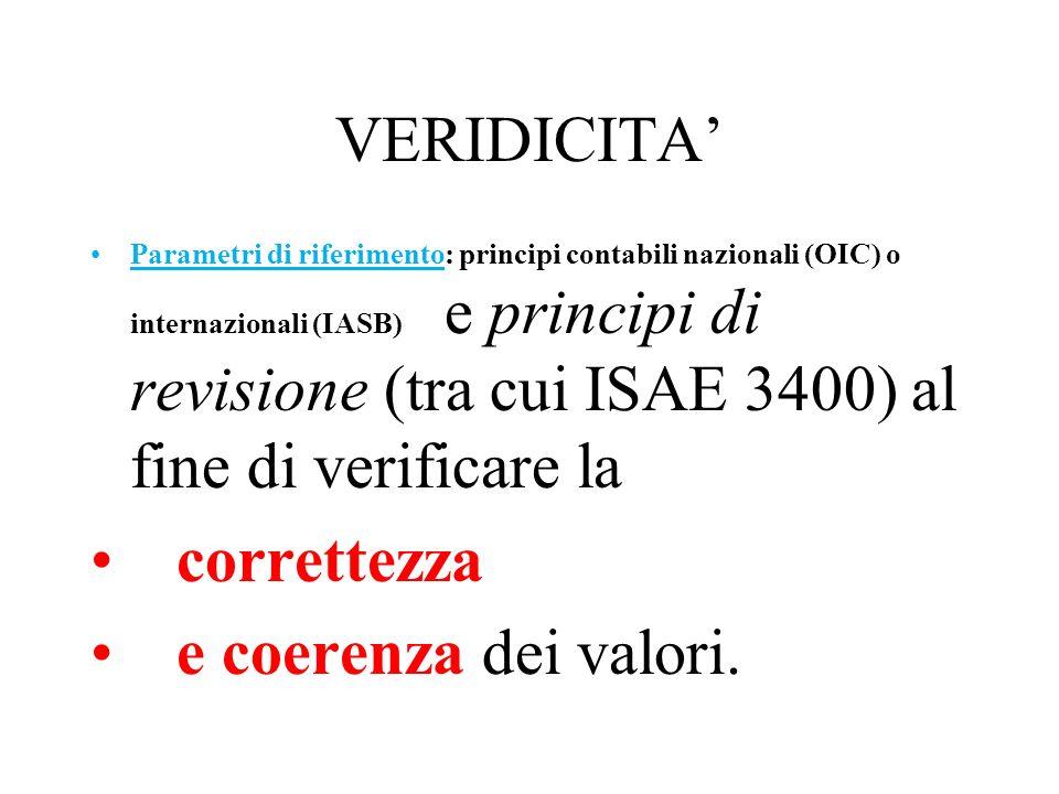 VERIDICITA Parametri di riferimento: principi contabili nazionali (OIC) o internazionali (IASB) e principi di revisione (tra cui ISAE 3400) al fine di