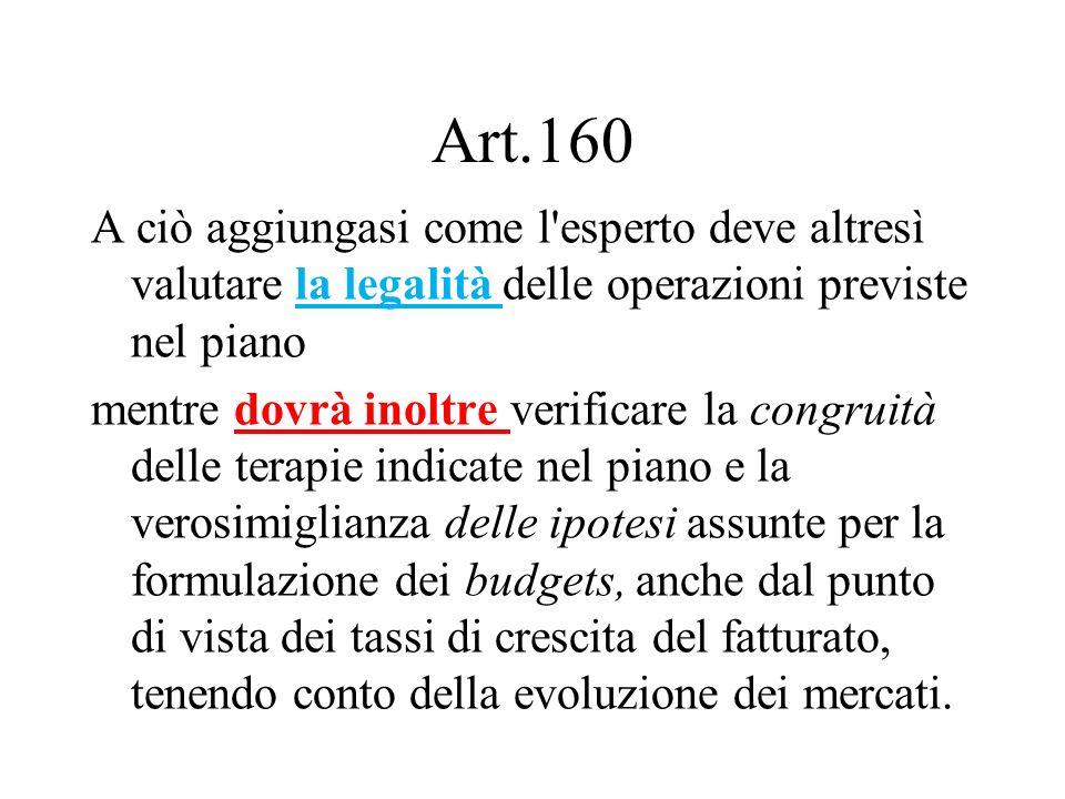 Art.160 A ciò aggiungasi come l'esperto deve altresì valutare la legalità delle operazioni previste nel piano mentre dovrà inoltre verificare la congr