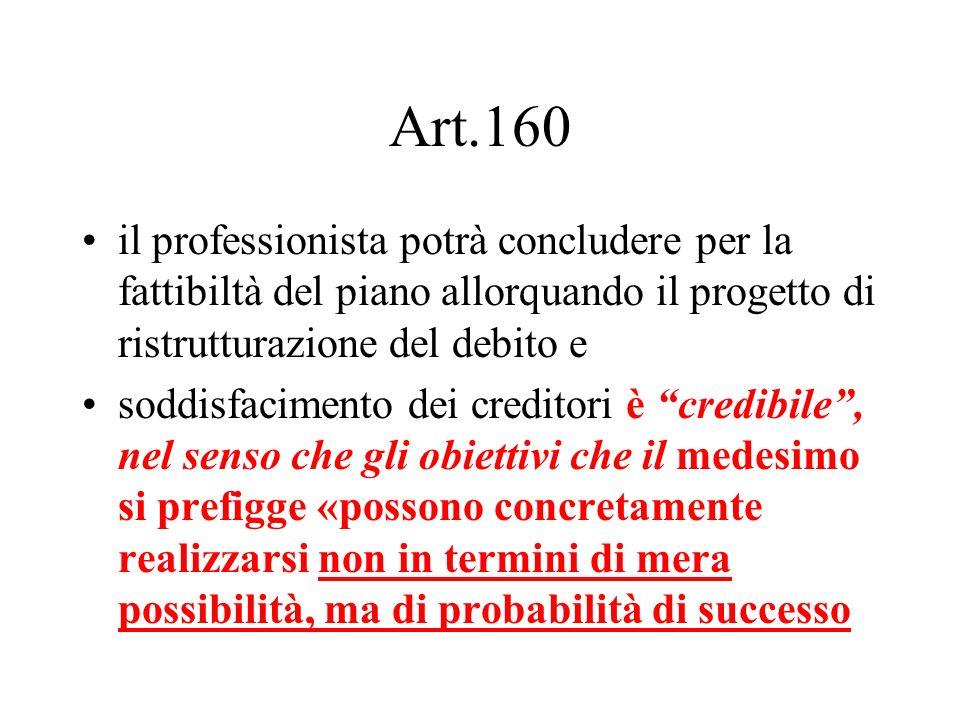 Art.160 il professionista potrà concludere per la fattibiltà del piano allorquando il progetto di ristrutturazione del debito e soddisfacimento dei cr