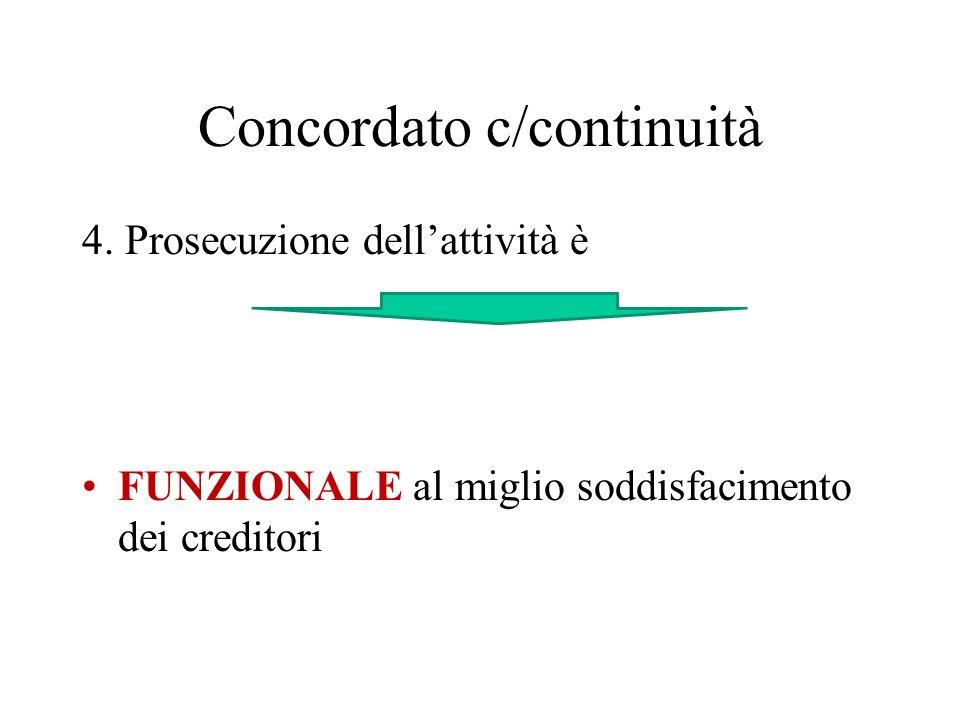 Concordato c/continuità 4. Prosecuzione dellattività è FUNZIONALE al miglio soddisfacimento dei creditori