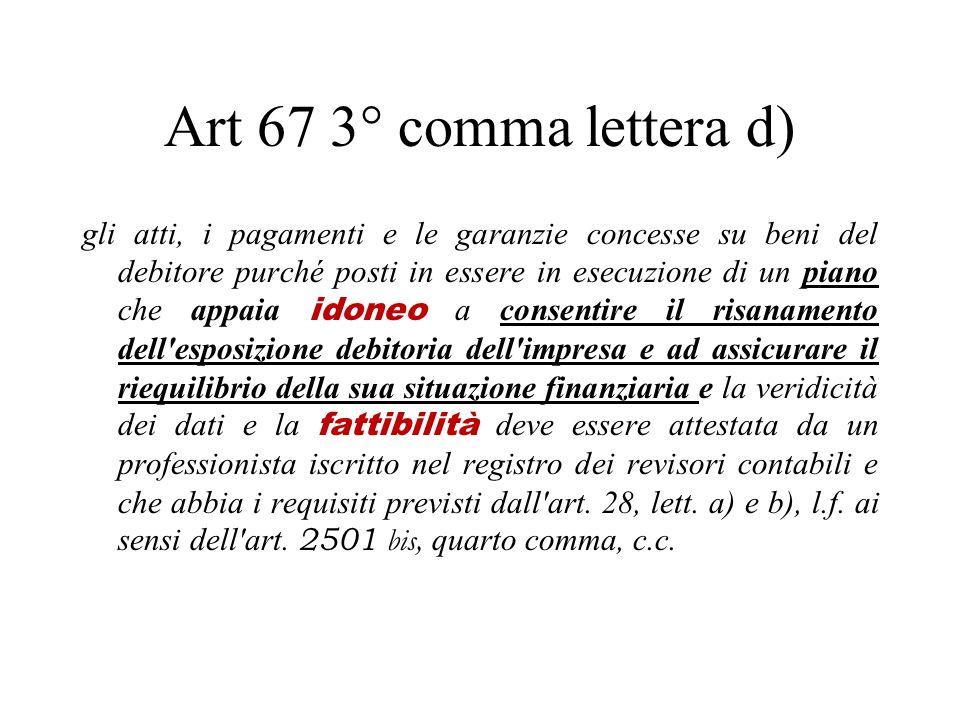 Art 67 3° comma lettera d) gli atti, i pagamenti e le garanzie concesse su beni del debitore purché posti in essere in esecuzione di un piano che appa