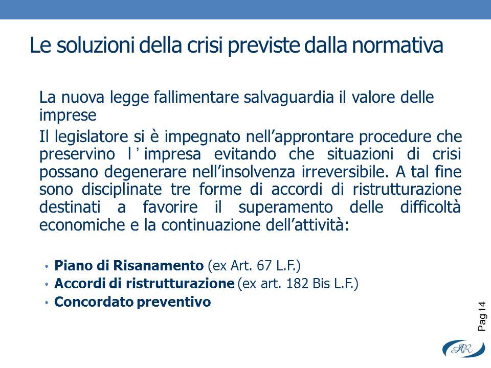 Le soluzioni della crisi previste dalla normativa La nuova legge fallimentare salvaguardia il valore delle imprese Il legislatore si è impegnato nella