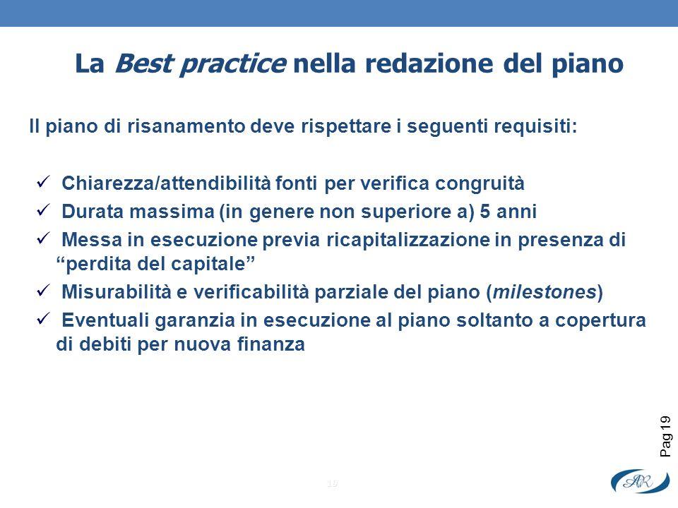 La Best practice nella redazione del piano Il piano di risanamento deve rispettare i seguenti requisiti: Chiarezza/attendibilità fonti per verifica co