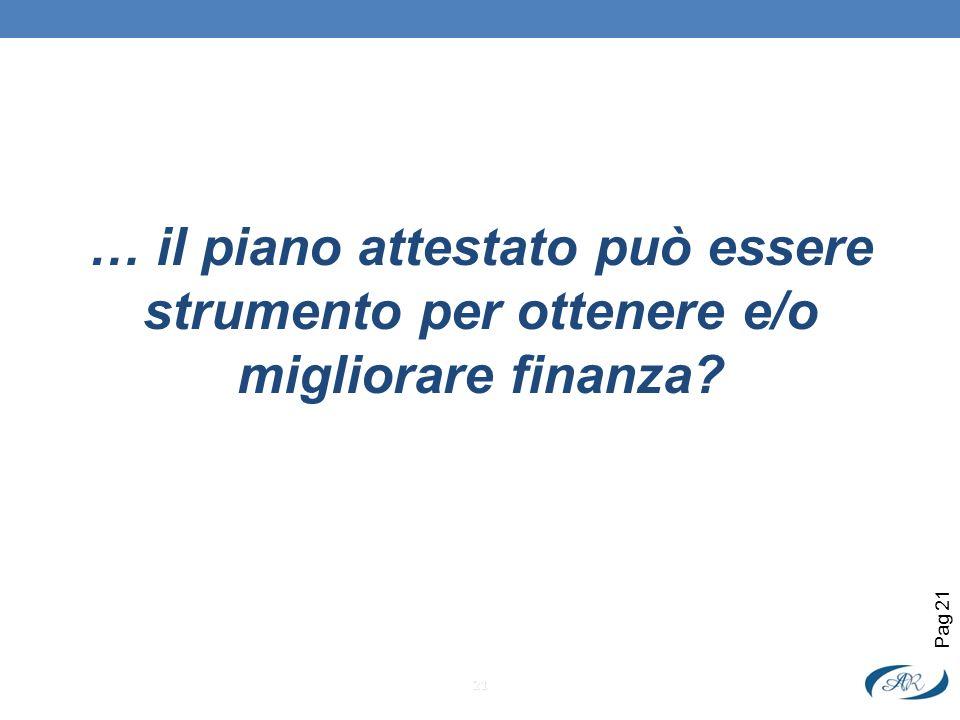 … il piano attestato può essere strumento per ottenere e/o migliorare finanza? 21 Pag 21