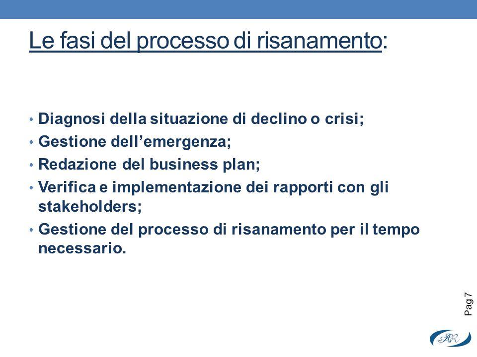 Le fasi del processo di risanamento: Diagnosi della situazione di declino o crisi; Gestione dellemergenza; Redazione del business plan; Verifica e imp