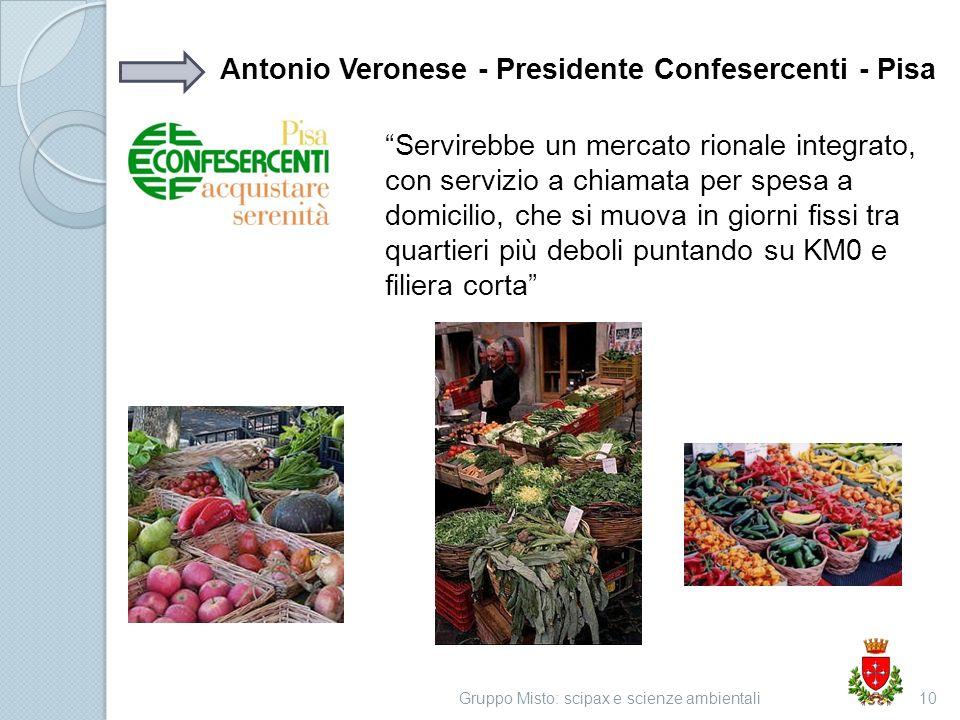 Gruppo Misto: scipax e scienze ambientali10 Antonio Veronese - Presidente Confesercenti - Pisa Servirebbe un mercato rionale integrato, con servizio a