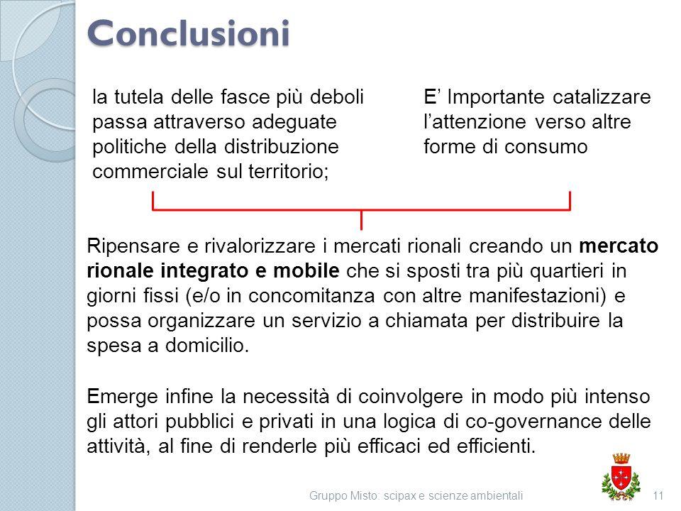 Conclusioni la tutela delle fasce più deboli passa attraverso adeguate politiche della distribuzione commerciale sul territorio; Gruppo Misto: scipax