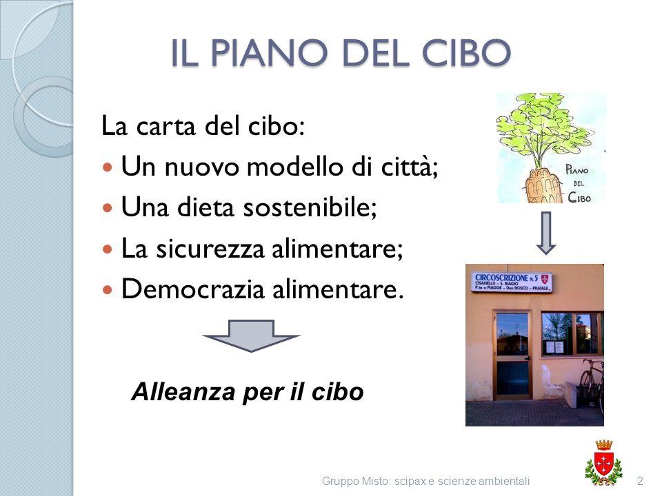 IL PIANO DEL CIBO La carta del cibo: Un nuovo modello di città; Una dieta sostenibile; La sicurezza alimentare; Democrazia alimentare. Gruppo Misto: s
