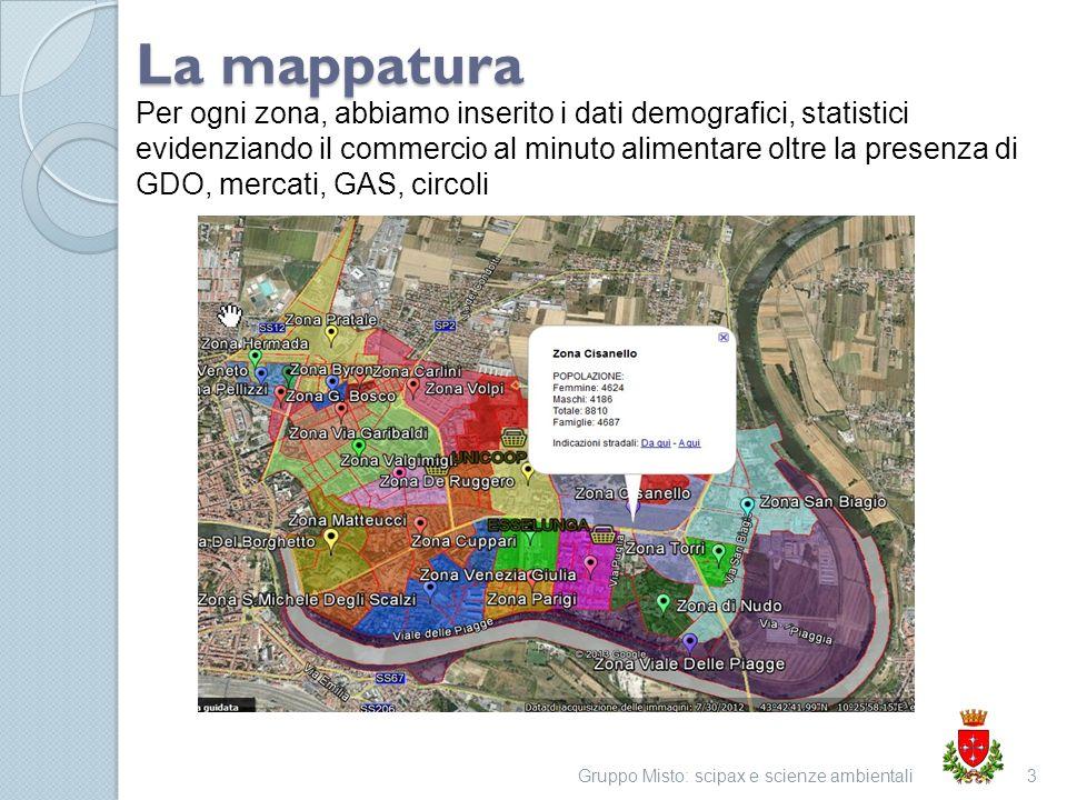 Gruppo Misto: scipax e scienze ambientali3 La mappatura Per ogni zona, abbiamo inserito i dati demografici, statistici evidenziando il commercio al minuto alimentare oltre la presenza di GDO, mercati, GAS, circoli