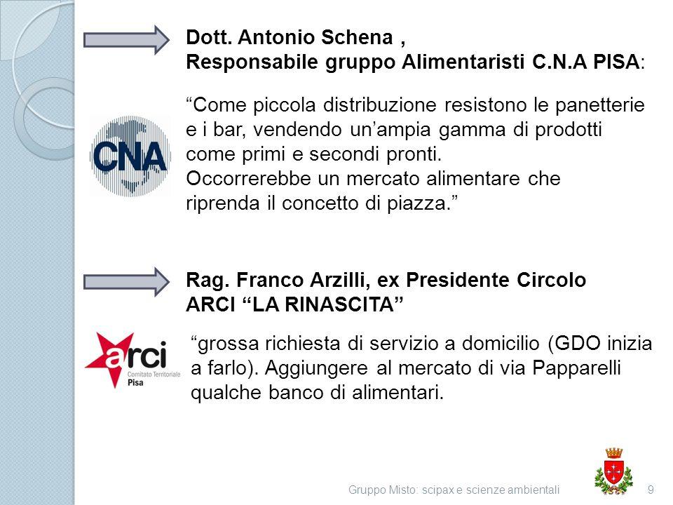 Gruppo Misto: scipax e scienze ambientali9 Dott. Antonio Schena, Responsabile gruppo Alimentaristi C.N.A PISA: Come piccola distribuzione resistono le