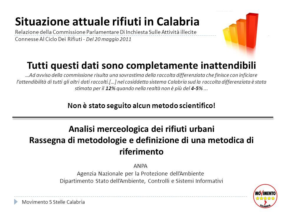 Situazione attuale rifiuti in Calabria Relazione della Commissione Parlamentare Di Inchiesta Sulle Attività illecite Connesse Al Ciclo Dei Rifiuti - D