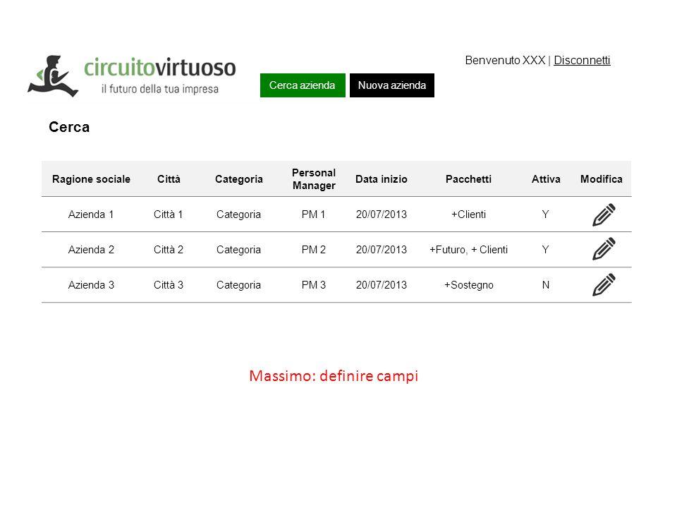 Cerca azienda Piano lavori Nuova azienda Benvenuto XXX | Disconnetti Cerca Ragione socialeCittàCategoria Personal Manager Data inizioPacchettiAttivaMo