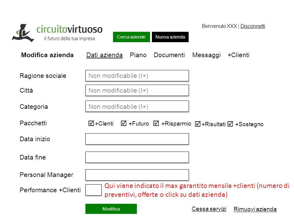 Cerca aziende Piano lavori Nuova azienda Benvenuto XXX | Disconnetti Piano lavori Modifica azienda Dati azienda Piano Documenti Messaggi +Clienti Non