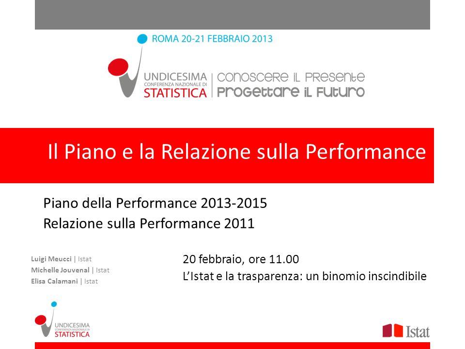 Il Piano e la Relazione sulla Performance Piano della Performance 2013-2015 Relazione sulla Performance 2011 20 febbraio, ore 11.00 LIstat e la traspa