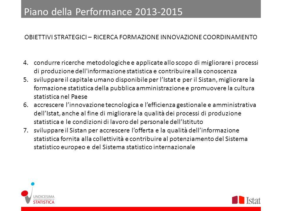 Piano della Performance 2013-2015 4.condurre ricerche metodologiche e applicate allo scopo di migliorare i processi di produzione dell'informazione st