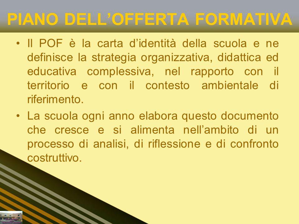 PIANO DELLOFFERTA FORMATIVA Il POF è la carta didentità della scuola e ne definisce la strategia organizzativa, didattica ed educativa complessiva, nel rapporto con il territorio e con il contesto ambientale di riferimento.