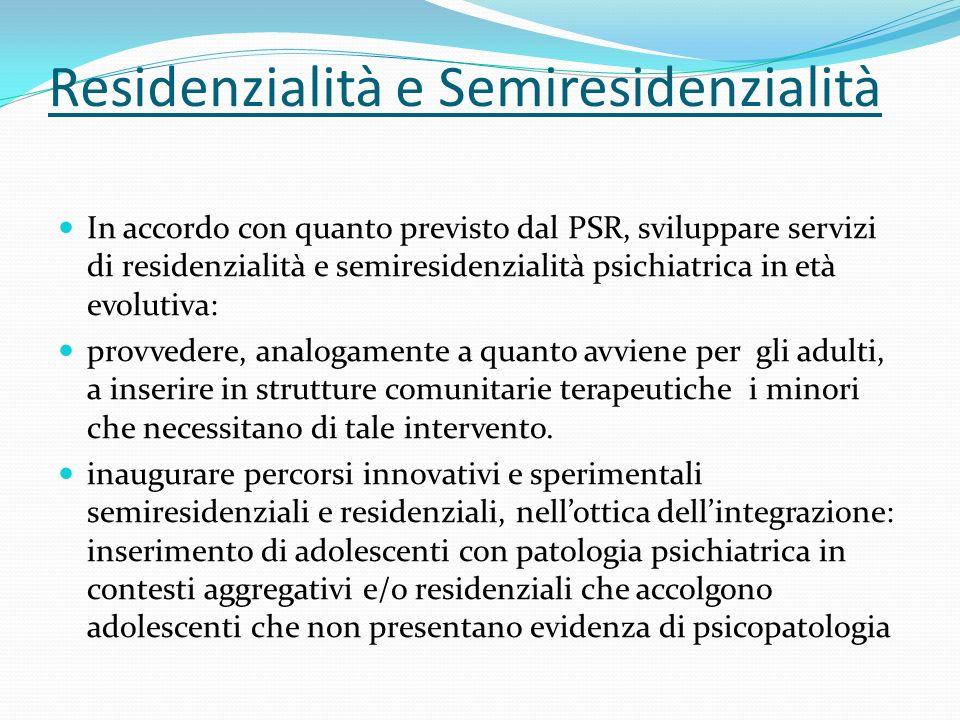Residenzialità e Semiresidenzialità In accordo con quanto previsto dal PSR, sviluppare servizi di residenzialità e semiresidenzialità psichiatrica in