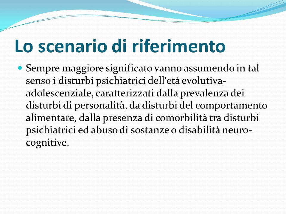 Lo scenario di riferimento Sempre maggiore significato vanno assumendo in tal senso i disturbi psichiatrici delletà evolutiva- adolescenziale, caratte