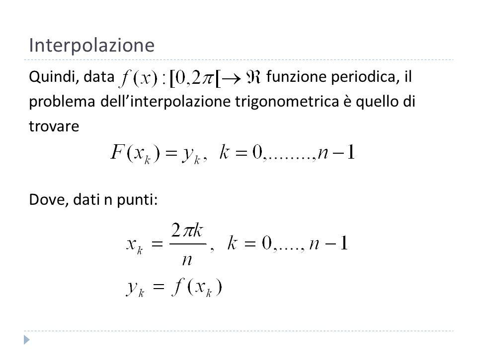 Interpolazione nel piano complesso Per trovare F(x) nel piano reale possiamo partire dal caso generale nel piano complesso.
