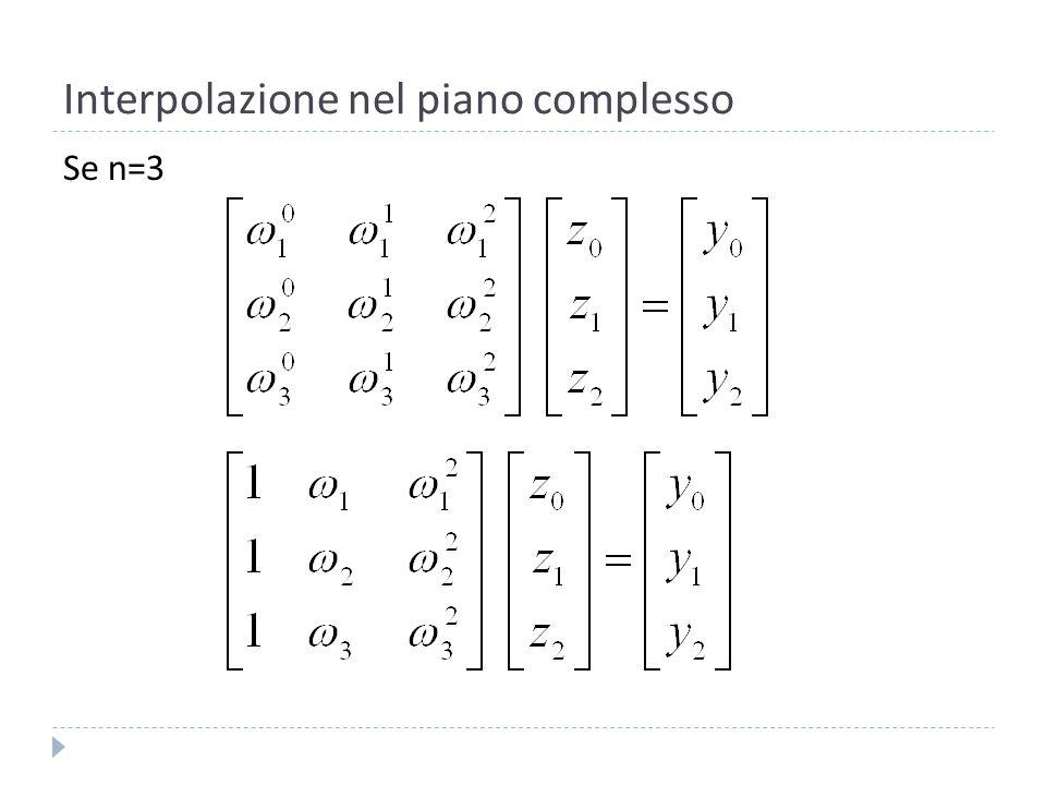Interpolazione nel piano complesso Dobbiamo risolvere il sistema 3.
