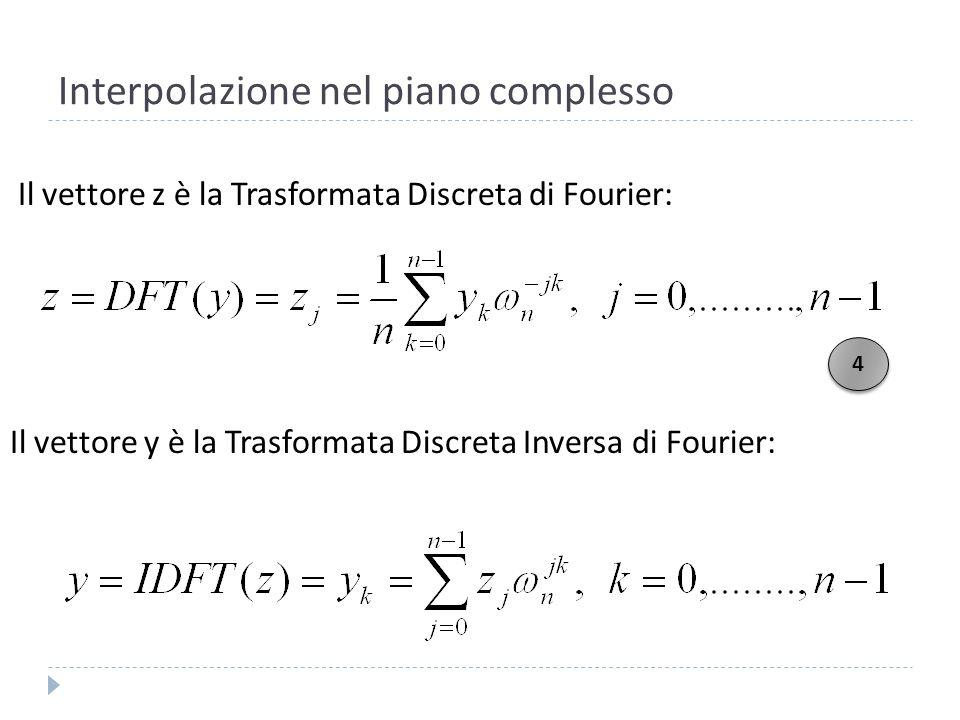Interpolazione nel piano complesso Osserviamo che ponendo i valori Corrispondono alle radici n-esime dellunità E, per la 3, ai valori