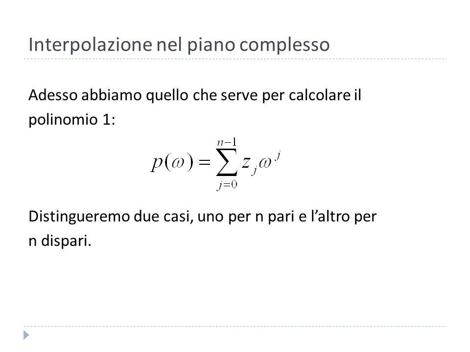 Interpolazione nel piano complesso Se n è dispari, ponendo n=2m-1, avremo: